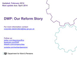 DWP Our Reform Story presentation