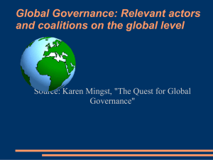 Global Governance: Relevant actors and coalitions on the global level