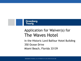 Application for Waiver for Soho Beach House