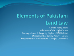 Elements of Pakistani Land Law