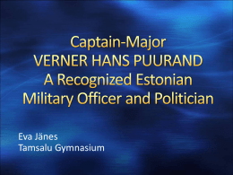 Captain-Major VERNER HANS PUURAND Recognized