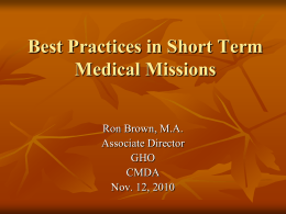 How to run a short term Medical - Global Missions Health Conference