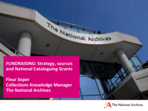 Fundraising strategy and cataloguing grants