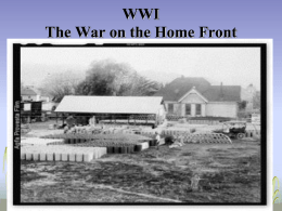 The War on the Home Front World War I Due Friday Oct 28th