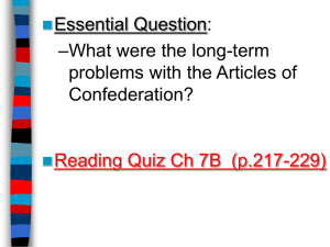 Problems with the Articles of Confederation and Calls for the