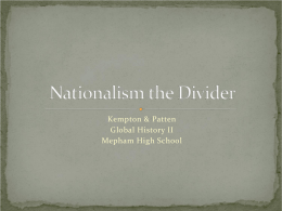 Nationalism the Divider