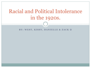 Racial and Political Intolerance in the 1920s.