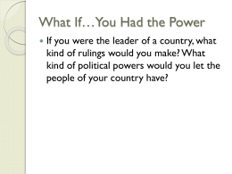 Who Has the Power in Different Governments?
