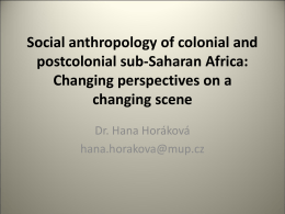 Social anthropology of colonial and postcolonial sub