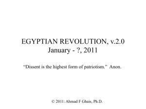 EGYPTIAN UPRISING January - ?, 2011