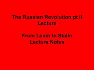 From Lenin to Stalin Lecture Notes