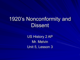 1920`s Nonconformity and Dissent