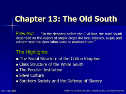 Chapter 13: The Old South