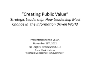 Creating Public Value Strategic Management in State Government