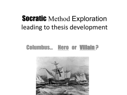 Columbus / Socratic Method Exploration
