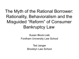 The Myth of the Rational Borrower: Rationality, Behavioralism and