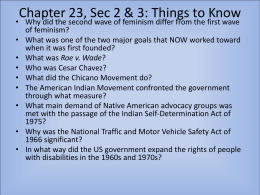 Chapter 23, Sec 1, 2, 3: Things to Know