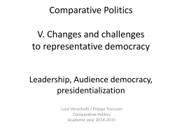 Comparative Politics V. Changes and challenges to representative