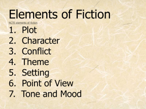 Elements of Fiction 1. Plot 2. Character 3. Conflict 4. Theme 5