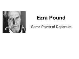 Ezra Pound--Some Points of Departure