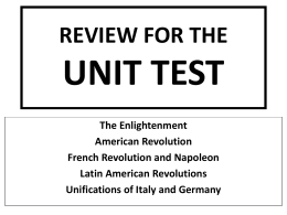 REVIEW FOR THE UNIT 8 TEST