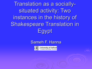 Towards a Sociology of Drama Translation: Hamlet Lives Happily