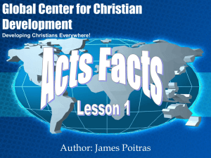 A Look at the Book of Acts - Reaching Through Teaching Ministries