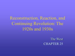 Reconstruction, Reaction, and Continuing Revolution