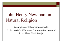 John Henry Newman on Natural Religion