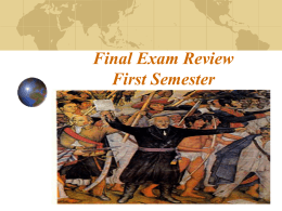 Final Exam Review First Semester Chapter One