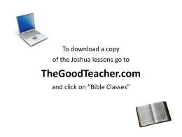 Joshua - The Good Teacher