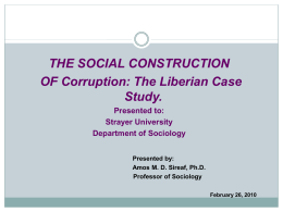 Dr. Sirleaf Social Construction Corruption