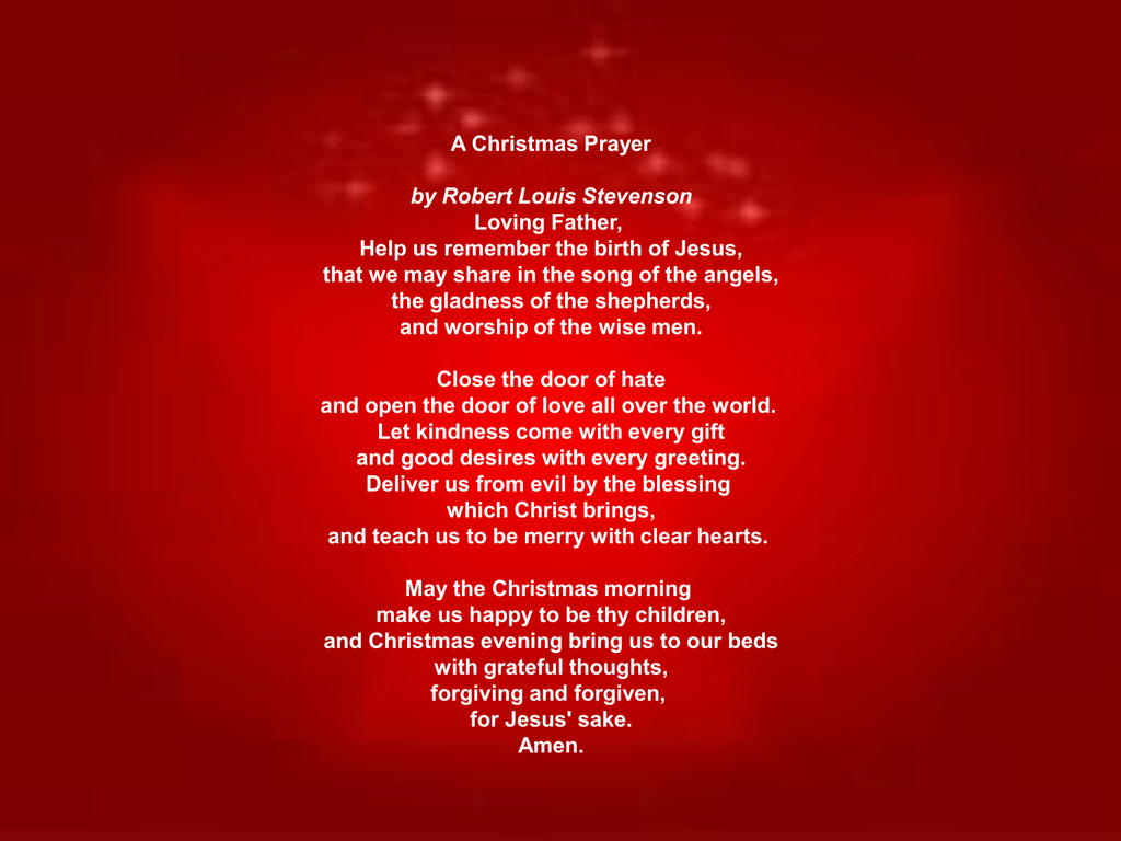 Christmas Prayer.Christmas Prayer