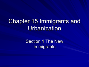 Chapter 15 Immigrants and Urbanization