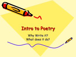 Intro to Poetry - 8thdiscoverers