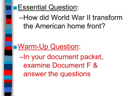 The American Homefront During WWII (PowerPoint)