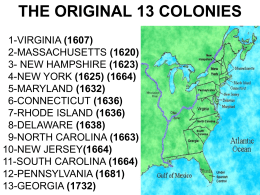 The Original 13 Colonies Powerpoint