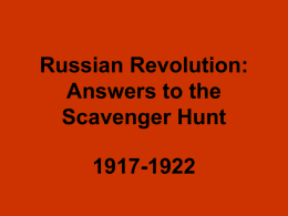 Russian Revolution: Answers to the Scavenger Hunt