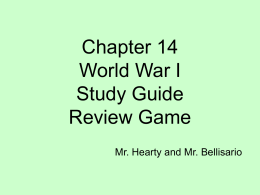 World War I Study Guide