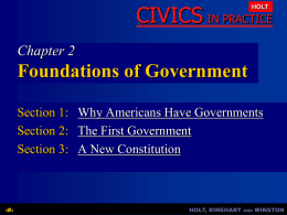 Chapter 2: Foundations of Government