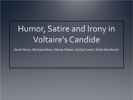 Humor, Satire and Irony in Voltaire`s Candide