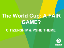 World Cup Citizenship/PSHE PowerPoint Presentation