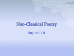 Neoclassical Poetry Notes