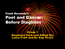 Frank Kermode`s Poet and Dancer: Before Diaghilev