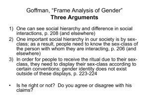 "Goffman, ""Frame Analysis of Gender"""