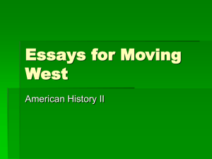 Essays for Moving West - Hinton Community School