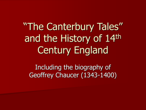 """The Canterbury Tales"" and the History of 14th Century England"