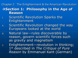 Chapter 2: The Enlightenment & the American Revolution