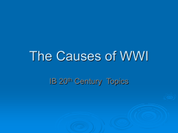 The Causes of WWI - George Washington High School