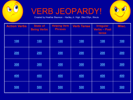 VERB JEOPARDY! - Glen Ellyn School District 41